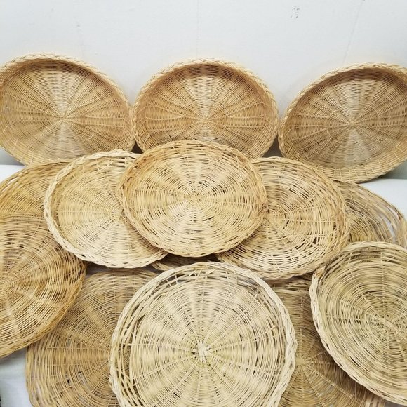 14 Rattan Wicker Paper Plate Holders Country Boho